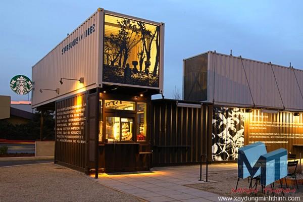 quán cafe starbucks làm từ container cũ
