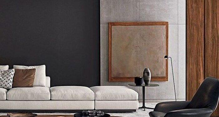 Chiếc bàn uống nước thấp cùng ghế tròn màu nâu đậm được kết hợp với chiếc ghế da hiện đại