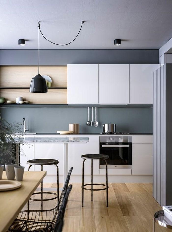 Phòng bếp tuyệt đẹp kết hợp màu xám đậm với trắng và gỗ nhạt màu